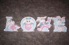 Homco BUNNY LOVE WALL PLAQUES--SET OF FOUR-  1980'S