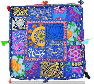 "Khambadiya Patchwork Stool 100%Cotton Pillow Cover Indian 35"" Ottoman Floor Pouf"