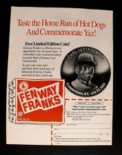 1990 Carl Yastrzemski~YAZ~Red Sox Baseball Promo Fenway Franks Coin Sports Ad