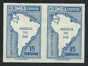 1946 Colombia, yt 397 MNH / Pair Non Serrated Varieties'
