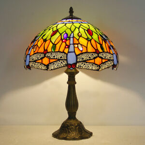 "Tiffany Style Green Dragonfly Table lamp  12"" Stained Glass Table Reading Lamp"