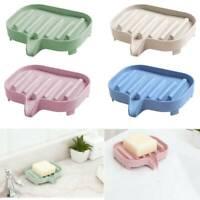 Soap Holder Dish Drain Bathroom Storage Box Plastic Soap Stand Tray Plate New