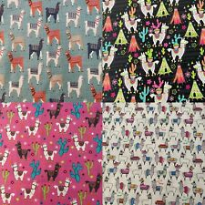 "You Pick Llamas Fabric Sold by the Fat Quarter-18""H x 21""W -100% Cotton"