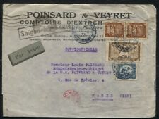 Indochine Indochina 1933 Airmail Cover Saigon to Paris France