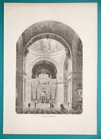 RUSSIA Saint Petersburg St. Isaac's Cathedral Interior - 1880s Wood Engraving