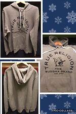 Men's True Religion XXL Heather Grey Buddha Brand Pullover Hoodie NWT