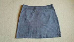 Womens Skirt-TALBOTS-navy blue/white patterned cotton stretch straight-18W