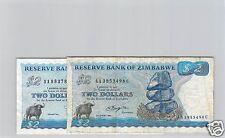 ZIMBABWE LOT DE DEUX 2 DOLLARS 1980 & 1983  PICK 1 a & 1 b !!!
