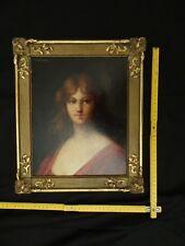 Portrait de femme en rouge signée Jean-Jacques Henner