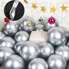 50 Silver Metallic Balloons Chrome Shiny Latex 12 Thicken For Wedding Party Baby