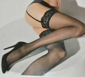 $45 New WOLFORD SEXY AFFAIRE 10 Lace STOCKINGS Caramel Cosmetic Beige S M L