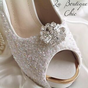Exquisite Crystal & Rhinestone Silver tone Shoe Clips Bridal Pageant Wedding