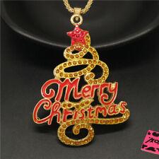 New Betsey Johnson Yellow Enamel Christmas Tree Crystal Pendant Chain Necklace