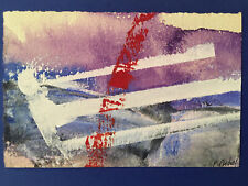 Très belle Peinture gouache dessin Pierre fichet Abstraction 1957 signé