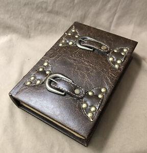 Faux Antique Leather Bound Book Storage Box Jewelry Storage Home Decor