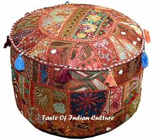 "Bohemian 22"" Brown Embroidered Round Ottoman Pouf Stool Chair Pouffe India Decor"