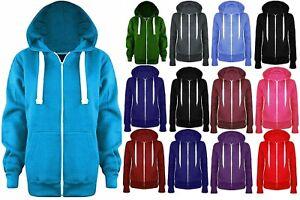 Ladies Girl PLUS SIZE Zip Up Sweatshirt Hooded Hoodie Coat Jacket Top(8-26)