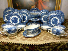 Vintage SUPPENSERVICE WEDGWOOD WOODLAND Made in England 6 Per. 23 Teil Blau