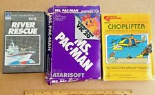 3 VIC 20 Commodore Computer Game Cartridges - Ms. Pacman Choplifter River Rescue