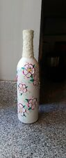 Hand Painted Vase Home Decoration Wine Bottle White With Pink Floral Design
