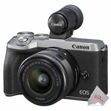 Canon EOS M6 Mark II Mirrorless Digital Camera Silver with 15-45mm + Viewfinder