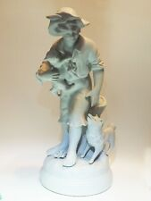 Antique porcelain France Boy & Samoyed Spitz Eskimo Dog & Cat Artist Kessler