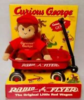 Vintage 1998 Curious George By Gund With Radio Flyer Wagon - Brand New in Box