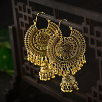 Fashion Round Bell Gold Bead Carved Jhumka Indian Tassel Carved Girl Earrings