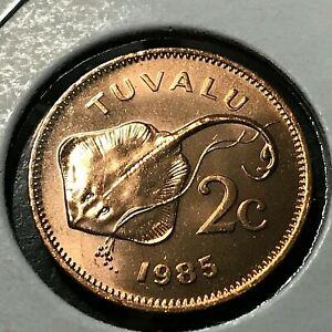 1985 TUVALU 2 CENT STINGRAY BRILLIANT UNCIRCULATED SCARCE COIN