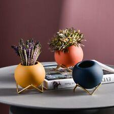 Nordic Ceramic Small Flower Pot Round Ball Wrought Iron Desktop Bracket Vase