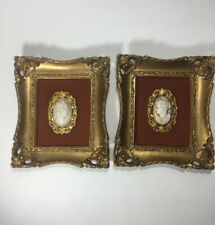 """2 Mid Century Turner Mfg Gilt Framed Pictures Plastic Roman Cameo 6""""x7"""" Made USA"""