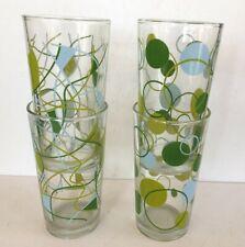 4 Vtge Retro Glass Tumblers_Mcm_Green Circles_Old Fashioned_Cocktail_Highba ll