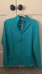 Mens Puma Golf Pullover Windbreaker Small Blue EUC with zip front pocket