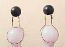 FINIALS A PAIR FANCY CERAMIC BLACK BALLS LAMP FINIALSw/BULB CLIP ADAPTERS/EASY!!