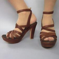 Lanvin Ete Women's Platform Pump High Heels Strappy Brown Leather Shoes 6 36