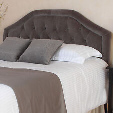 Queen Bed Upholstered Headboard Grey Fabric Tufted Adjustable Full Size Bedroom