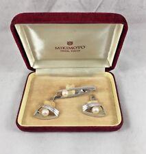 Beautiful Mikimoto Pearl 14K Whit Gold Cufflinks & Tie Clip Box Set