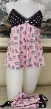 P J SALVAGE Owls LACE TRIM Short Pajama Set Women's SIZE XL NWT $68