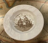 Vintage Wedgwood Mariners Museum Susan Constant Ship Ashtray Brown Transferware