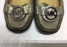 Michael Kors silver leather moccasins size 7.5