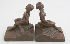 NuArt Art Deco Nude Woman on Pedastal Cold Painted Bookends (A2R) Pair
