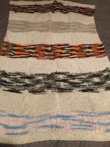 Hand Knit Afghan Lap Blanket, 44 X 30, Washable, Brand New