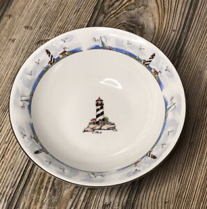 """Lighthouse Bowl Soup Cereal Snack Totally Today Stoneware 6"""" Excellent Condition"""