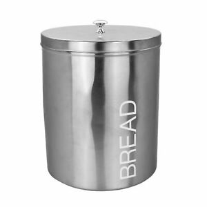 Metal Bread Bin Kitchen Canister Canisters Kitchen Food Storage Silver
