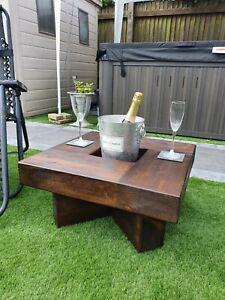 Rustic handmade solid wood sleeper garden coffee table