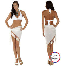 1 World Sarongs Sheer Sarong in White Swimsuit Beach Cover-Up Wrap Skirt Pareo
