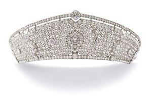 White Round Diamond White Gold Plated Floral Handmade Royal Wedding Tiara Fine