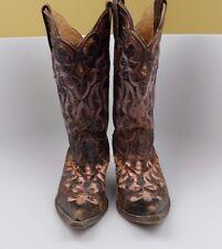 Distressed Stetson Women's Cowboy Boots Western w/Python Underlay  SIZE 6