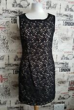 Oasis Dress Lace Black/Nude Lining Pencil style front pockets Size 8 UK Xmas?
