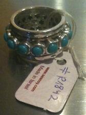 Silver turquoise cabachon 1842  SEANOY  Israeli  spinning ring  7.25- 8